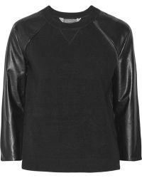 Reed Krakoff Leatherpaneled Cashmere Wool and Silkblend Top - Lyst