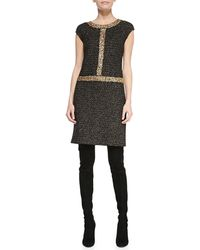 St. John Cap-sleeve Tweed Dress - Lyst