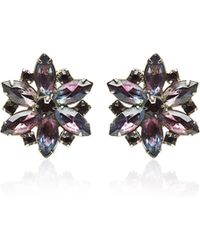 a7a25efa002 Carole Tanenbaum Unsigned Flower Purple Rhinestone Earrings