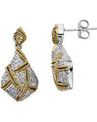 Lord & Taylor - Sterling Silver With 14kt. Yellow Gold Diamond Drop Earrings - Lyst