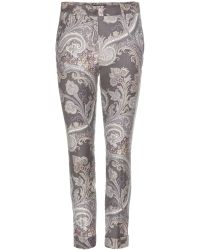 Etro Printed Wool Twill Trousers - Lyst