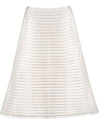 Cynthia Rowley Denim Mesh Midi Skirt white - Lyst