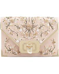 Marchesa Valentina Floral Beaded Envelope Clutch Bag - Lyst