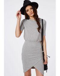 Missguided Asymmetric Hem Bodycon T-Shirt Dress Grey Marl - Lyst