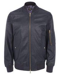 Paul Smith Navy Leather Bomber Jacket - Lyst