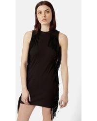 Topshop Fringe Sleeveless Body-Con Dress black - Lyst