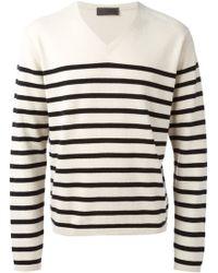Iris Von Arnim V-Neck Striped Sweater - Lyst