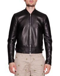 DSquared² Leather Moto Varsity Jacket - Lyst