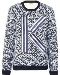 Kenzo White K Chevron Cotton Sweatshirt - Lyst