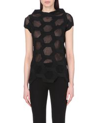 Junya Watanabe Knit And Faux-Leather Top - Lyst