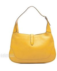 Gucci Preleather Yellow Leather Jackie O Bag - Lyst