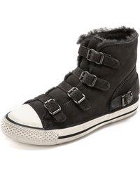 Ash Virgin Shearling Sneakers  Graphite - Lyst