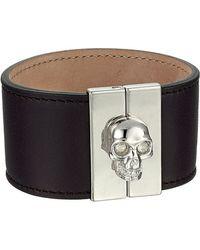 Alexander McQueen Skull Leather Cuff - Lyst