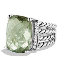 David Yurman Wheaton Ring With Prasiolite And Diamonds - Metallic