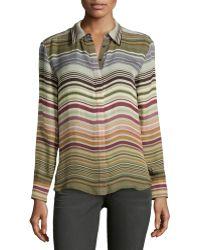 Michael Stars Silk Striped Button Blouse - Lyst