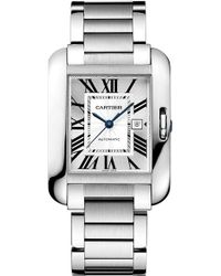 Cartier Tank Anglaise Stainless Steel Large Watch - For Men silver - Lyst