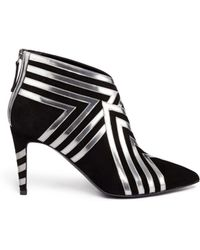 Pierre Hardy Metallic Leather Stripe Suede Ankle Boots - Lyst