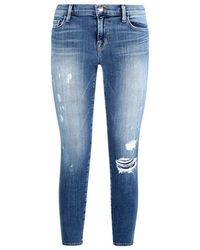 J Brand Mid-Rise Distressed Capri Jeans - Lyst