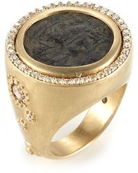 Coomi - Antiquity 20k Coin Ring With Full Diamond Bezel - Lyst