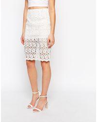 True Decadence Sheer Lace Pencil Skirt - Lyst