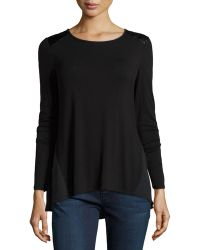 Laundry by Shelli Segal Faux-Leather-Shoulder Top - Lyst