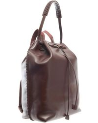 The Row Woven Leather Backpack - Brown