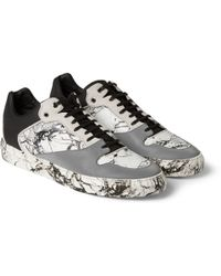 Balenciaga Suede-Trimmed Marbled Leather And Rubber Sneakers - Lyst