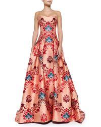 Carolina Herrera Brocade Jacquard Strapless Gown - Lyst