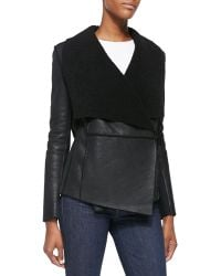 Elie Tahari Chase Leather Jacket W Shearling Fur Lapels - Lyst