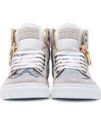 Marc Jacobs Grey And Gold Python High_Top Sneakers - Lyst