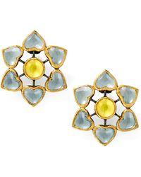 She Bee Gem - Heart Flowers Earrings in Grey Yellow - Lyst