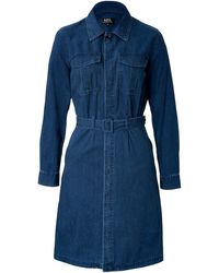 A.P.C. Cotton Rome Army 70s Shirtdress - Lyst