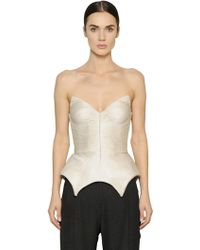 Maria Lucia Hohan Plisse Silk Tulle Bustier Top - White