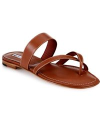 Manolo Blahnik Flat Leather Criss-Cross Slide Sandals - Lyst