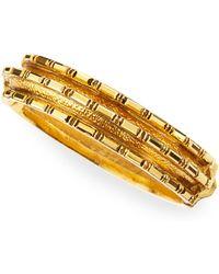 Jose & Maria Barrera Bronze Crystal Baguette 24K Gold-Plate Bangle - Lyst