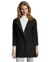 T Tahari Black Woven 'Lily' Bell Sleeve Pique Coat - Lyst