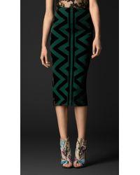 Burberry Knitted Blanket Pencil Skirt - Lyst