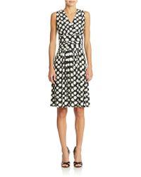 Eliza J Geo Print Ruched Dress - Lyst