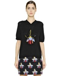 Fendi Orchid Embellished Cotton Sweater - Lyst