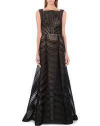 Elie Saab Sheer Stripe Longlength Gown Black - Lyst