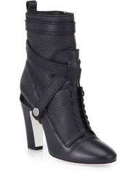 Fendi Diana 105Mm Leather Ankle Boots - Lyst