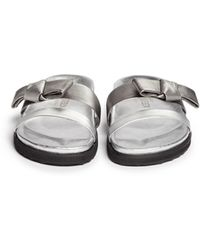 Alexander McQueen Bow Strap Leather Sandals silver - Lyst