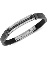 Swarovski Bengal Men'S Hematite-Tone Black Leather Bracelet