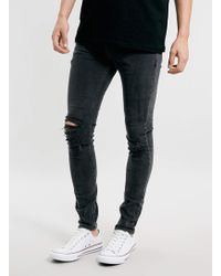 LAC - Washed Bk Knee Rip Spray On Jeans - Lyst