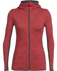Icebreaker Away Long-sleeve Full-zip Showers Hoodie - Red
