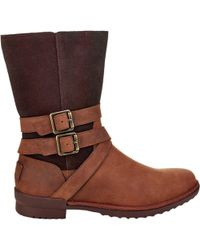 e2eb7a81223 UGG Lorna Genuine Shearling Lined Wedge Boot in Brown - Lyst