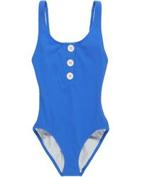Solid & Striped The Anne-marie Button One-piece Swimsuit - Blue