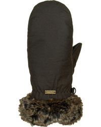 Barbour Wax With Fur Trim Mitten - Green
