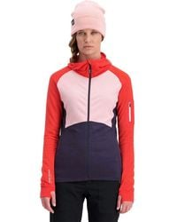 Mons Royale Ascend Midi Full-zip Hooded Top - Red