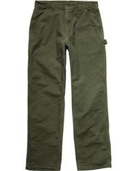 Carhartt Washed-duck Work Dungaree Flannel-lined Pant - Green